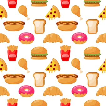 Seamless pattern cute funny fast food kawaii style isolated
