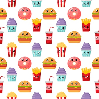 Seamless pattern cute funny fast food kawaii style