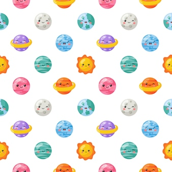 Seamless pattern cute funny kawaii space. planets cartoon style isolated .