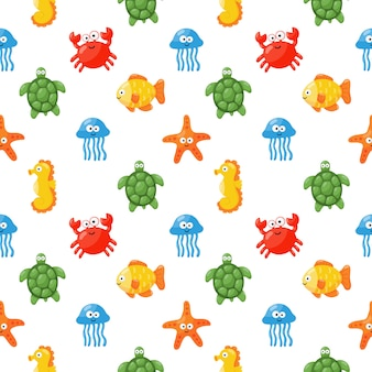 Seamless pattern cute funny sea and ocean animals cartoon isolated