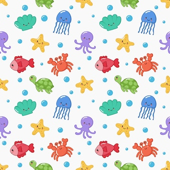Seamless pattern cute funny sea and ocean animals cartoon