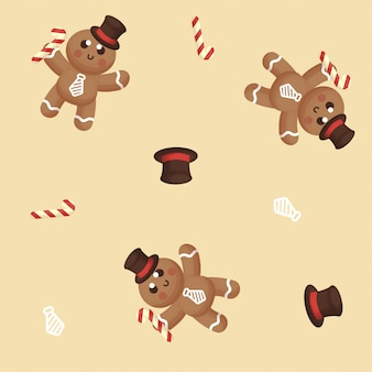 Seamless pattern of cute ginger bread with winter and decoration
