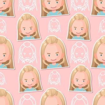 Бесшовный фон милая девушка плоский мультфильм