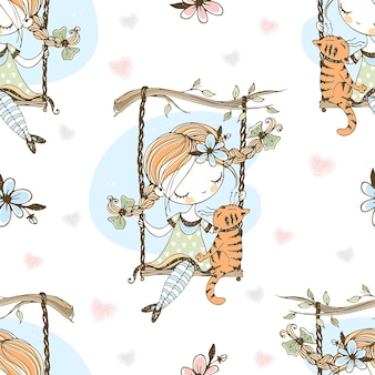 Seamless pattern. a cute girl with pigtails is swinging on a swing with her cat. vector.