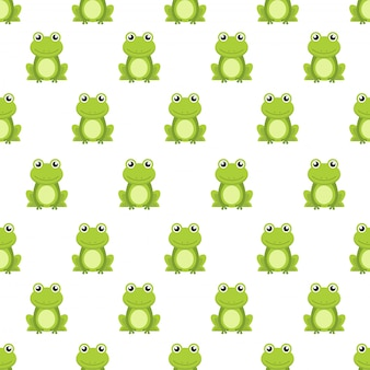 Seamless pattern cute green frog cartoon character