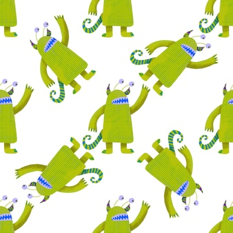 Seamless pattern cute green monsters. kids graphic illustration. wallpaper, wrapping paper