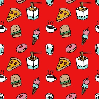 Seamless pattern of cute hand drawn food icons slice of pizza burger ice cream hot drink donus