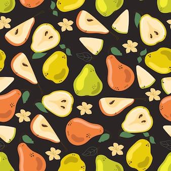 Seamless pattern of cute hand drawn pears on black background flat modern illustration