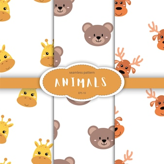Seamless pattern of cute hand drawn sleeping animals. cartoon zoo. animal for design of children products in scandinavian style.