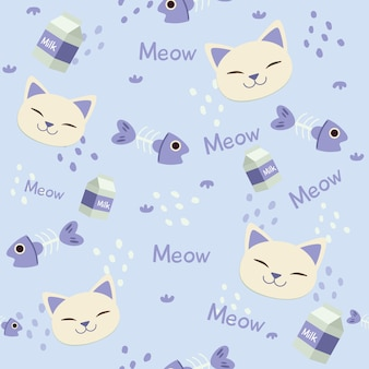 Seamless pattern of cute head of cat with fishbone and milk box