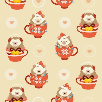 The seamless pattern of cute hedgehog in the cup with christmas theme