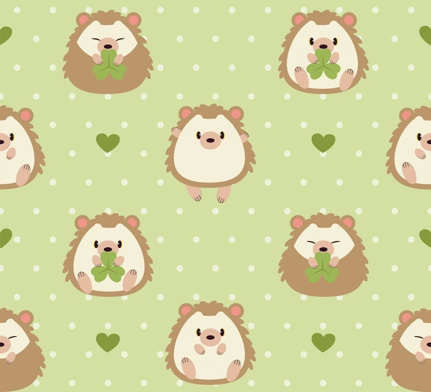 The seamless pattern of cute hedgehog and grass in the garden.