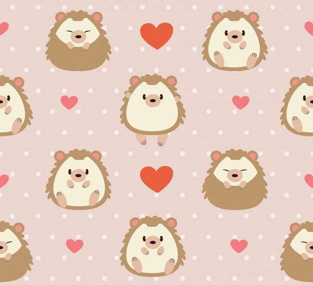 Seamless pattern of cute hedgehog and heart on pink