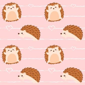 Seamless pattern cute hedgehog