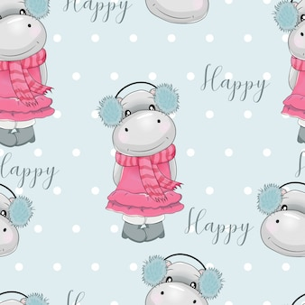 Seamless pattern cute hippo with blue background