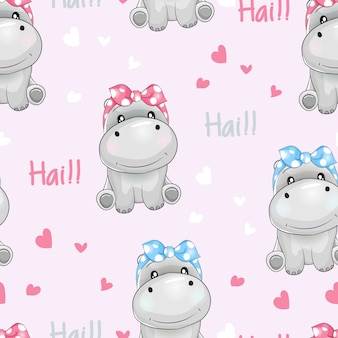 Seamless pattern cute hippo with love background