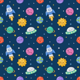 Seamless pattern cute kawaii space.
