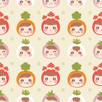 Seamless pattern cute kids wear vegetable hat on yellow background.