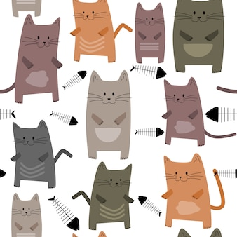Seamless pattern cute kittens and fishbone.