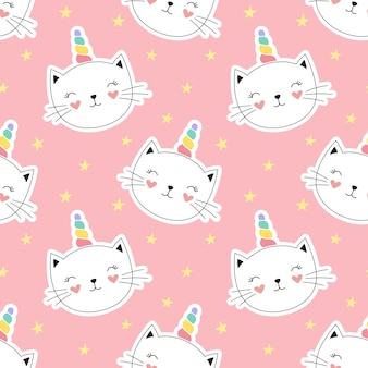 Seamless pattern cute kitty unicorn, little kitten.