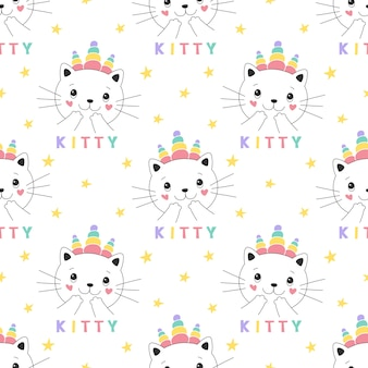 Seamless pattern cute kitty unicorn