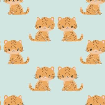 Seamless pattern of cute leopard
