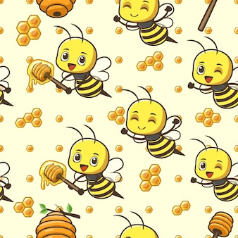 Seamless pattern cute little bee Premium Vector