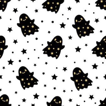 Seamless pattern of cute little cartoon ghosts on white background