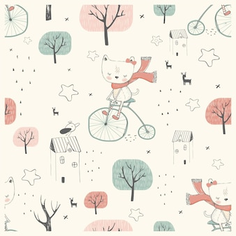 Seamless pattern cute little cat riding on bicycle hand drawn vector illustration