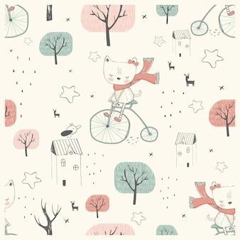 원활한 패턴 자전거를 타고 귀여운 작은 고양이 손으로 그린 벡터 일러스트 레이 션