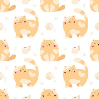 シームレスパターンかわいい子猫