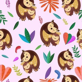 원활한 패턴 귀여운 엄마와 화려한 잎 아기 올빼미.
