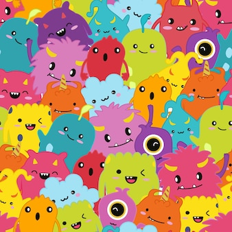 Seamless pattern cute monster cartoon