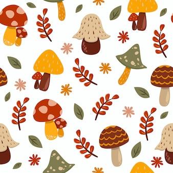 Seamless pattern of cute mushrooms cartoon