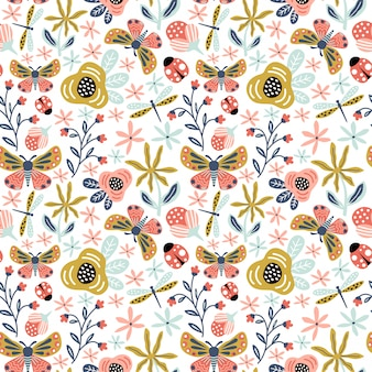 Seamless pattern cute ornament butterfly and flower foliage