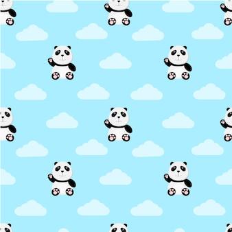 Бесшовные шаблон мило панда мультфильм сидеть и махать рукой с облаками