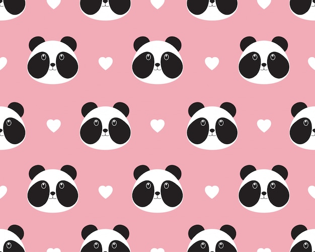 Seamless pattern of cute panda face with heart