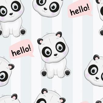 Seamless pattern cute panda say hello