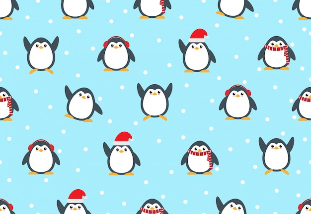 Seamless pattern of cute penguin cartoon with snow background