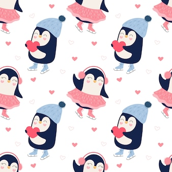 Seamless pattern of a cute penguins ice skating couple.