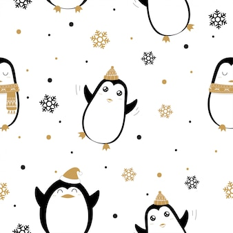 Seamless pattern of cute penguins and snowflakes