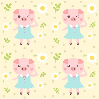 Seamless pattern cute pig and little flower.