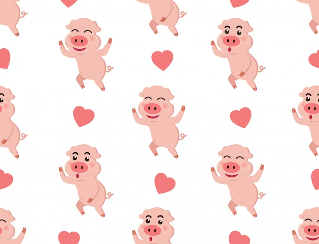 Seamless pattern cute piggy with hearts