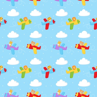 Seamless pattern cute pilot animals in air isolated on blue background.