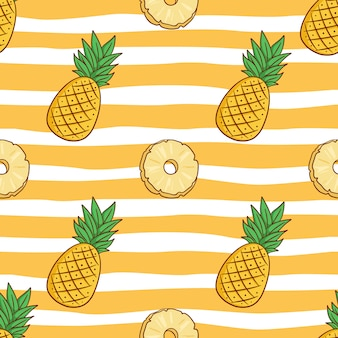Seamless pattern of cute pineapple with colored doodle style