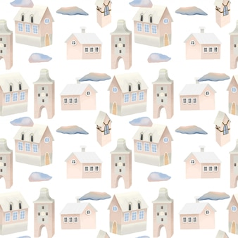 Seamless pattern of cute pink houses and clouds in the sky
