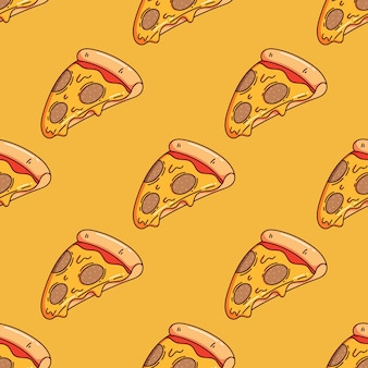 Seamless pattern of cute pizza slice with doodle style