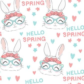 Бесшовный фон милый кролик и розовый лук. рисованный банн