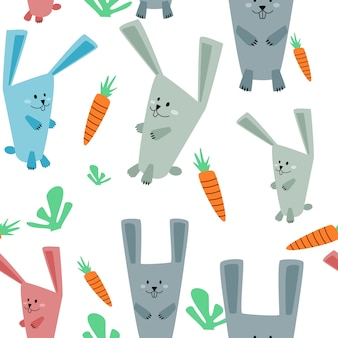 Seamless pattern cute rabbit and carrot.