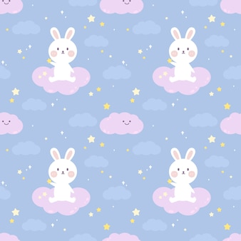 Seamless pattern cute rabbit sit on the cloud.